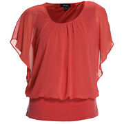 Style And Co 1x 2x Pink Flutter Sleeve Banded Chiffon Blouse Nwt F/s Plus Size