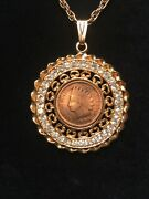 """113 Year Old 1906 Indian Head Penny Coin In Rhinestone Bezel W/24"""" Necklace."""