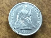 1860-o New Orleans Silver Seated Half Dime Made Into Button Or Collar Stud