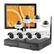 Indoor And Outdoor Home Security Camera System Wireless W/hdd 15 Monitor Ch 8
