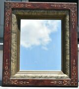 Antique 1870's Eastlake Mirror Picture Frame Aesthetic Walnut Silver Gilt 8 X 10