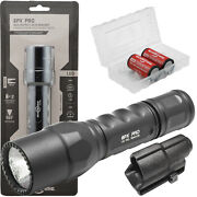 Surefire 6px Pro Compact Led Flashlight W/ V70 Holster 2 123as And Battery Box