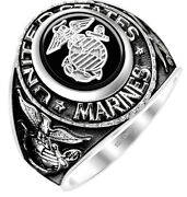 Menand039s Antiqued 14k Or 10k Yellow Or White Gold Us Marine Corps Military Ring