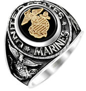 New Menand039s Antiqued Two Tone 14k Or 10k Yellow Or White Gold Us Marine Corps Ring