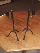 1950's Mid Century Vintage Wrought Iron Candlebra Candle Holders Furniture Rare