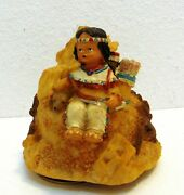 Native American Girl With Wolf 1998 Music Box Resin Genmore Corp 4.5
