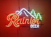 New Rainier Beer Mountain Neon Light Sign 17x14 Beer Cave Bar Real Glass