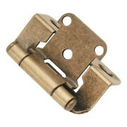 Pair Of Hickory Antique Brass Partial Wrap 1/2 Overlay Cabinet Hinges P2710f-ab