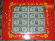 2009 2 8-note Sheet Uncut Currency Lucky Money 8888