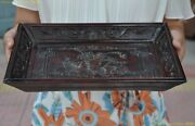 13 China Redwood Wood Carving Auspicious Eight Treasures Dish Plate Tray Pallet