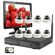 8 Ch Surveillance Wireless Camera System With 4tb Hdd Hdmi Monitor Night Vision
