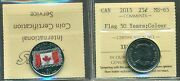 New 2015 Canada 25 Cent Flag 50 Yearscolour Iccs Ms-65