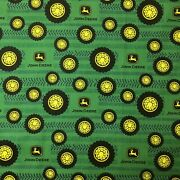 110cm X 50cm John Deere Tyre Patchwork Cotton Sewing Quilting Fabric
