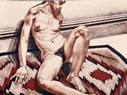 Philip Pearlstein Girl On Orange And Black Mexican Rug 1973 Lithograph Hs/n