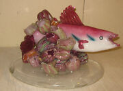 Original Large Cody Nicely And039fish Swimming In Coraland039 Art Glass Sculpture - Listed