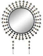 D Modern Round Wall Mirror With Key Chain Holders And Crystal