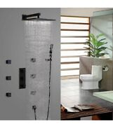 """12"""" Rainfall Wall Mounted Solid Brass Shower Set And Six Body Spray Jets Us Seller"""