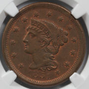 1851 1c Braided Hair Large Cent Ngc Ms 63 Cool Cracked Planchet