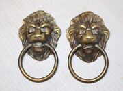 Large Pair Of Antique Brass Victorian Lion Heads Drawer Furniture Pull Handles .
