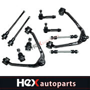 10pc Front Upper Control Arm Tie Rod Suspension Kit For Chevy Gmc Sierra 1500