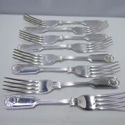Sterling Silver Set Of 8 Fiddle Thread And Shell Dinner Forks. Sheffield 1993