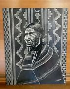 Vintage 1950s Native American Navajo Chief Etched Art History Blanket Jewelry A+