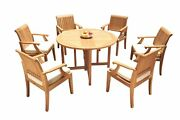 A-grade Teak 7pc Dining 48 Round Butterfly Table 6 Lagos Arm Chairs Set Outdoor