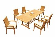 A-grade Teak 7pc Dining 94 Mas Rectangle Table Goa Stackng Arm Chairs Set Patio