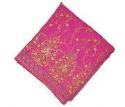 Vintage Women Dupatta Long Indian Hijab Scarf Floral Hand Embroidery Veil Stole