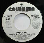 Rock Promo 45 Paul Anka - Gimme The Word / Gimme The Word On Columbia