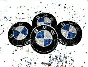Crystallized Center Caps For Bmw Set 4 Wheel Rim Car Bling W/ Crystals