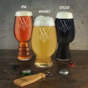 Personalized Craft Beer Glass Set And Bottle Opener Engraved W/ Monogram Designs