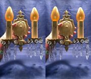 Pair Of Antique Victorian Brass Sconces With Prisms Rewired 32c