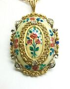 Antique Floral Enamel 18k Yellow Gold Pin/pendant On 22 Thick Chain