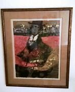 Theo Tobiasse Land039homme En Noir Rabbi With Bus Signed And Numbered Lithograph