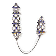 4.3ct Sapphire Pave Diamond Connector Ring 18k Gold 925 Sterling Silver Jewelry