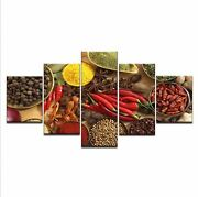 Chili Anis Pepper Spices Kitchen 5 Pcs Canvas Wall Art Picture Poster Home Decor