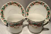 Lot Of 4sango Noel 8401 Christmas Holiday Holly Red Ribbon Bells Cup And Saucer