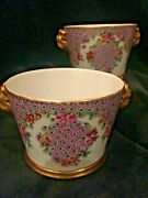 Sevres Style Matched Pair Of Porcelain Hand-painted Jardiniandegraveres Or Cache Pots