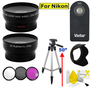 52mm Wide Angle Lens + Zoom Lens + Tripod And Hood Kit For Nikon D3100 D3200 D5100