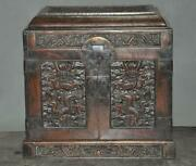 China Noble Huanghuali Wood Carved Dragon Play Bead Jewelry Boxes Storage Box