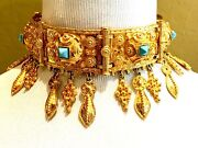 Ultimate Kenneth Lane 1960and039s Goldtone Turquoise Etruscan Choker Dangle Necklace