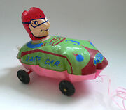 Vintage Early Inflatable Plastic Beach Toy Racer Race Car 3 Japan 1950's