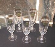 Luxembourg Champagne Flutes 5 Beautiful French Crystal Orig Tags Free Ship