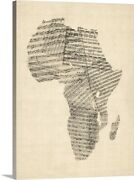 Old Sheet Music Map Of Africa Map Canvas Wall Art Print, Map Home Decor