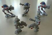 Vintage 5 Micro Mini 1 1/8 Robot Alien Figures With Weapons Arms And Legs Move