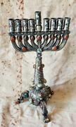 Hand Made One Of A Kind Silver And Agate Persian Chanukah Menorah 1950and039s