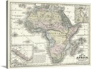 Mitchell's Map Of Africa Canvas Wall Art Print, Map Home Decor