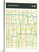 Iowa State Highway Map Canvas Wall Art Print, Map Home Decor