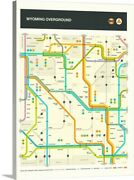 Wyoming State Highway Map Canvas Wall Art Print, Map Home Decor